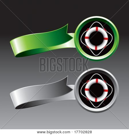 life ring on green and silver ribbons