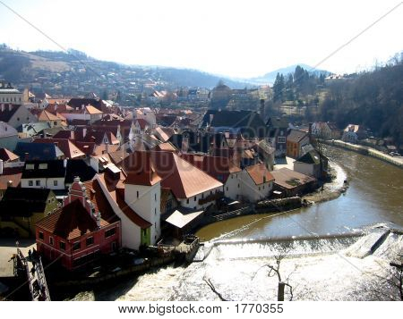 Cesky Krumlov With The Vltava River, South Bohemian, Czech Republic