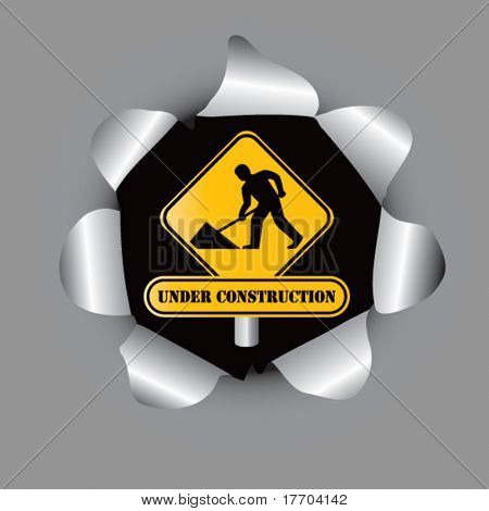 construction work sign in paper hole