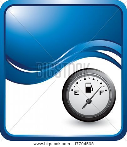 gas gauge on vertical blue wave background