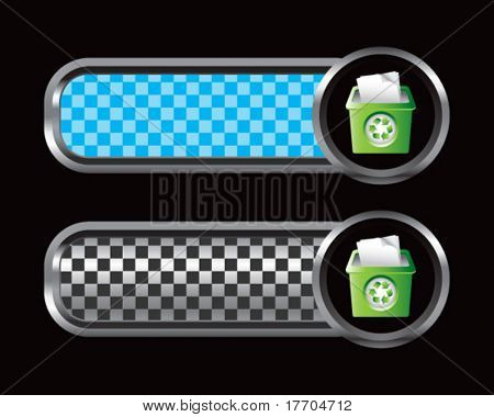 recycle bin on blue and black checkered banners