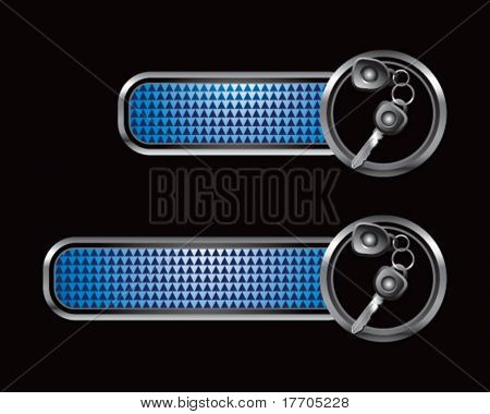 set of keys on blue checkered tabs