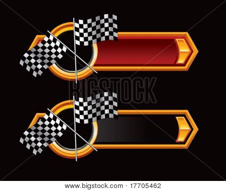 racing flags on ribbon banner