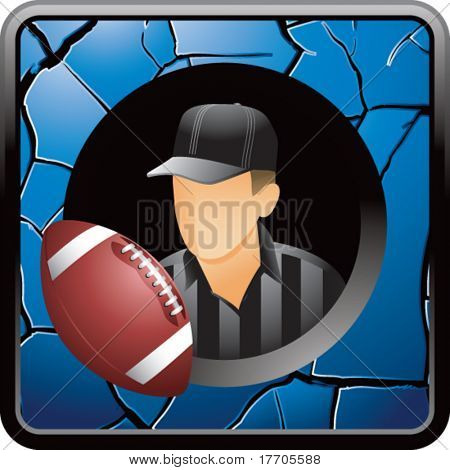 football referee on blue cracked web button
