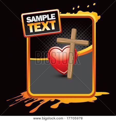 wooden cross and heart on orange splattered banner