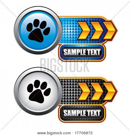 paw print on gold arrow nameplate banner