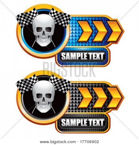 Racing Schädel und checkered Markierungsfahne Goldpfeil Typenschild Banner