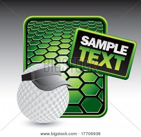 golf ball with visor on green hexagon advertisement