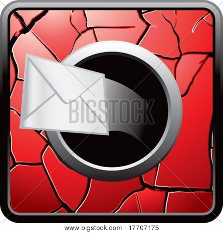 envelope on red cracked web button