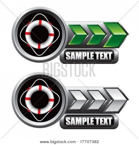 life ring on green and white arrow nameplate banners
