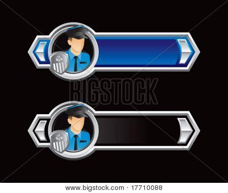 setas de policial azul e preto