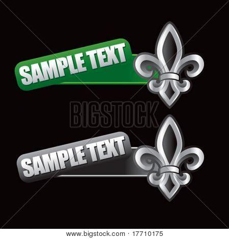 fleur de lis tilted green and gray banners