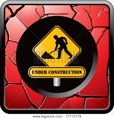 construction sign red cracked web button