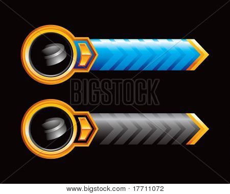 hockey puck blue and black arrows