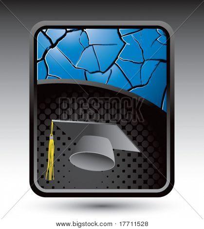graduación del casquillo azul Fondo agrietado