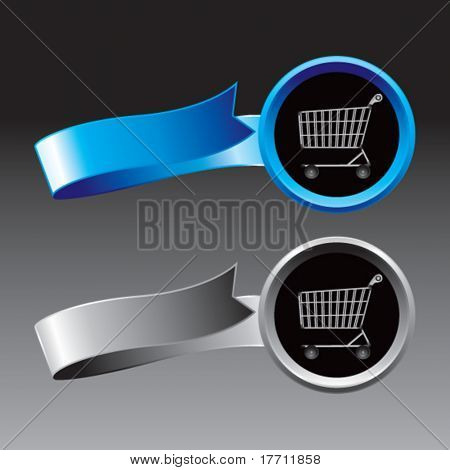 shopping cart blue and gray ribbons