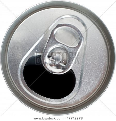 Top View of an Open Silver Soda Pop Can