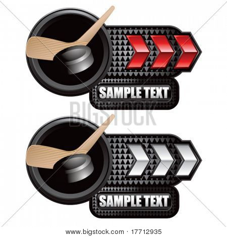 hockey stick and puck red and white arrow nameplate banners
