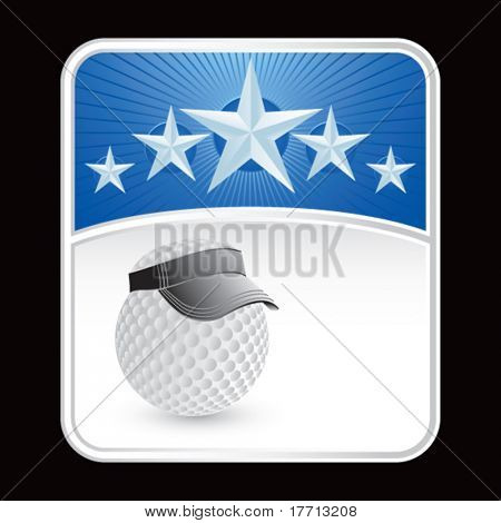golf ball with visor on blue star background