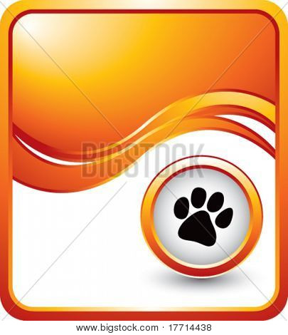 paw print orange wave background
