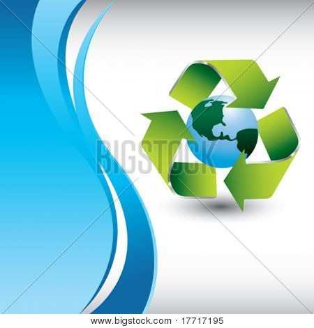 recycle earth vertical blue wave background