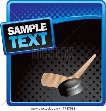hockey stick and puck blue and black halftone template
