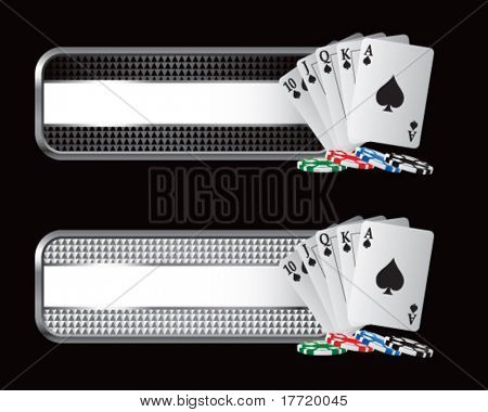 playing cards on black and silver checkered tabs