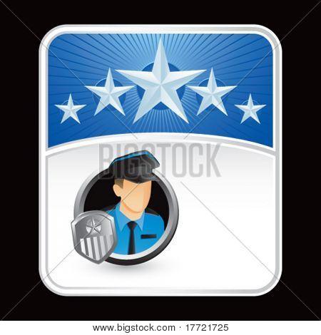 policial azul fundo estrela
