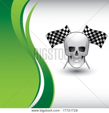 skull and racing flags vertical green wave backdrop