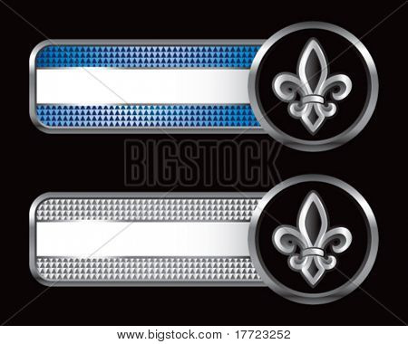 fleur de lis on blue and silver checkered tabs