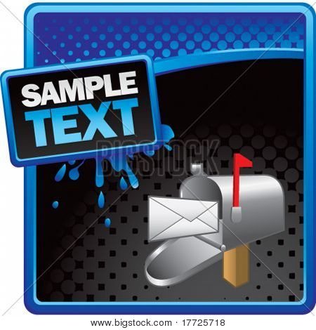 mailbox blue and black halftone grungy template