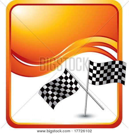 crossed checkered flags orange wave background