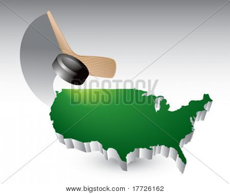 hockey stick and puck green united states icon