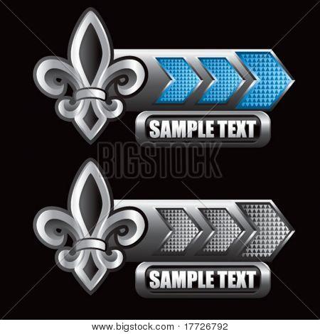 fleur de lis blue and gray arrow nameplates