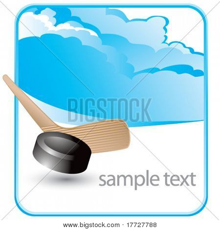 hockey stick and puck cloud background