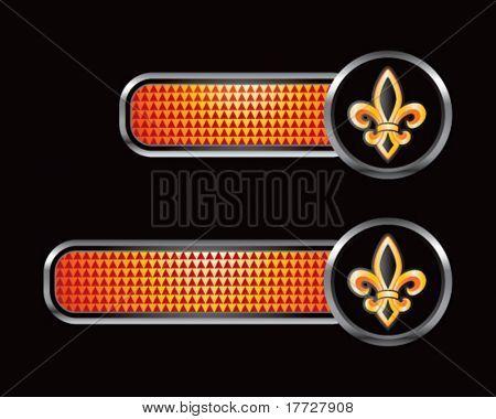 fleur de lis on orange checkered tabs