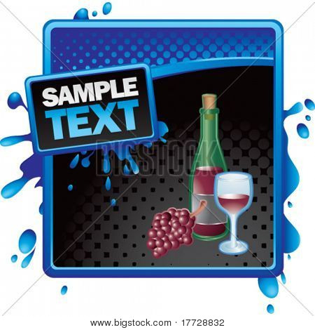 wine glass and bottle blue and black halftone grungy ad