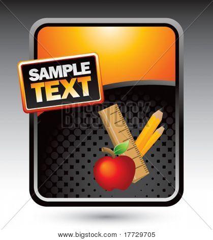 school supplies orange stylized template