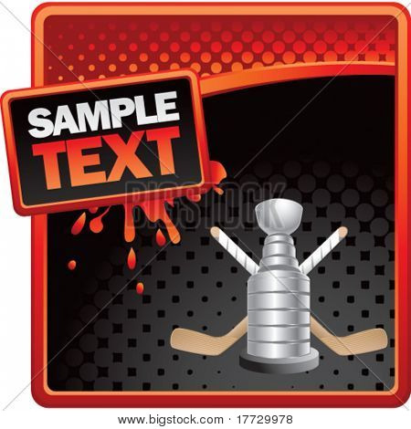 hockey trophy red and black halftone grungy ad