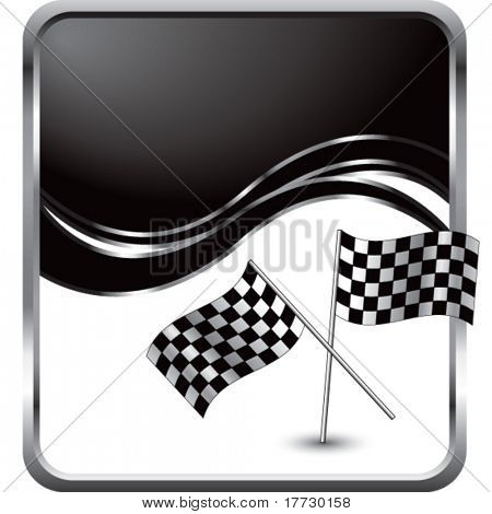 crossed checkered flags black wave backdrop