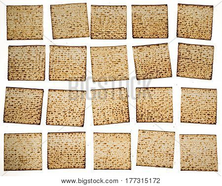 Matza slices organizing in rows - Traditional kosher bread for Passover