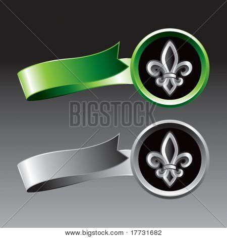 fleur de lis green and gray ribbons