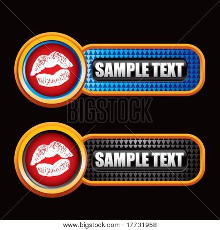 lips puckering on blue and black checkered tabs