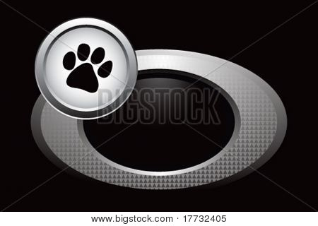animal paw print on round silver banner