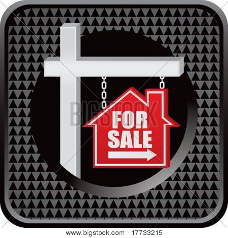 for sale sign black checkered web button