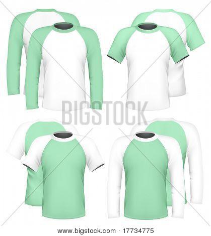 Vector illustration. Men's raglan t-shirt design template (front & back).