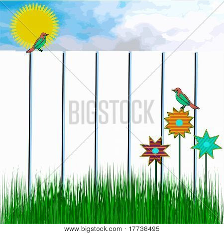 Birds In Sunny Day Scene With White Fence and Green Grass, Also See Vector In My Portfolio