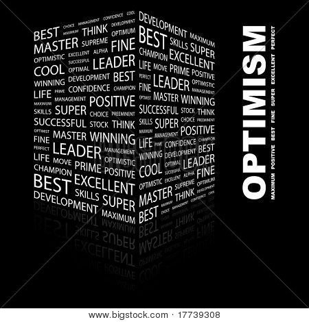 OPTIMISM. Word collage on black background. Vector illustration. Illustration with different association terms.