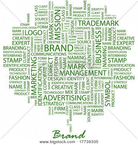 BRAND. Word collage on white background. Vector illustration. Illustration with different association terms.
