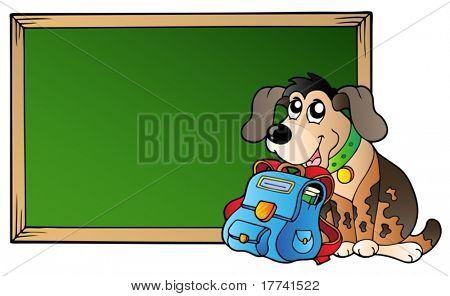 Placa com o cão e o saco de escola - ilustração vetorial.
